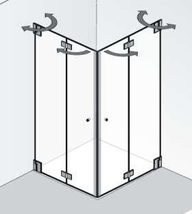 Duschkabine Rechteck + Eckfalttür