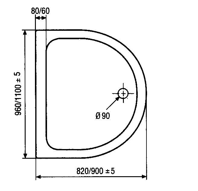 hsk duschwanne halbkreis 110 90 cm superflach arcom center. Black Bedroom Furniture Sets. Home Design Ideas