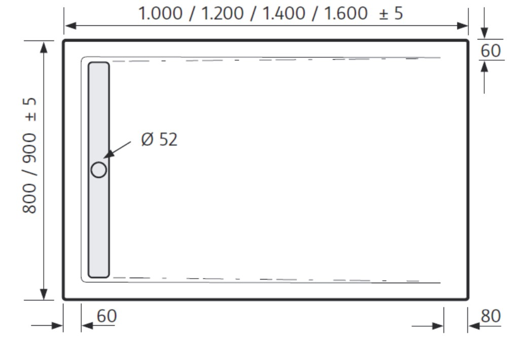 hsk duschwanne 80 x 120 cm superflach duschrinne arcom center. Black Bedroom Furniture Sets. Home Design Ideas
