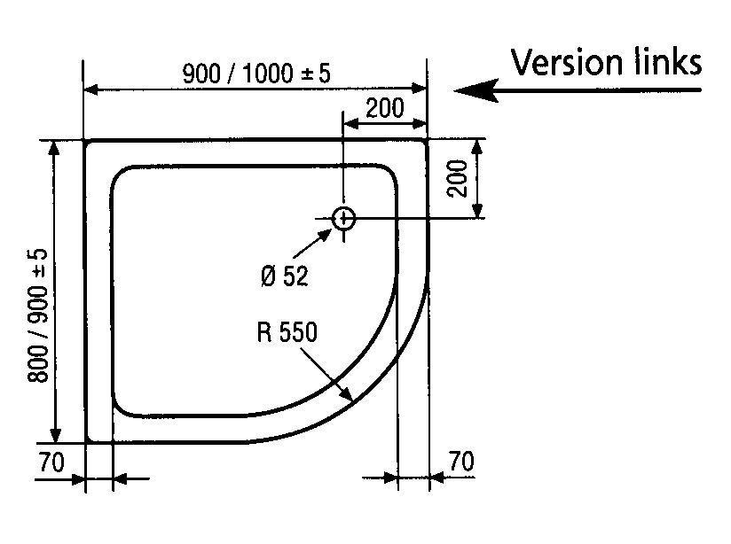 hsk duschwanne viertelkreis asymmetrisch links 80 x 90 cm arcom center. Black Bedroom Furniture Sets. Home Design Ideas