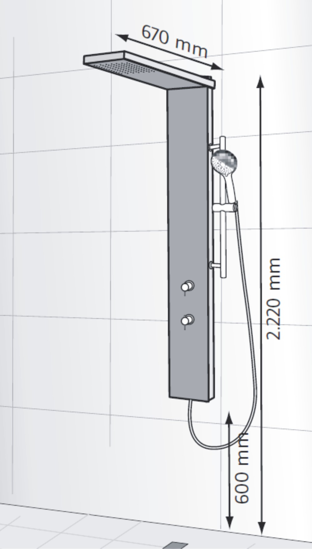 duschpaneel ohne thermostat edelstahl duschpaneel. Black Bedroom Furniture Sets. Home Design Ideas