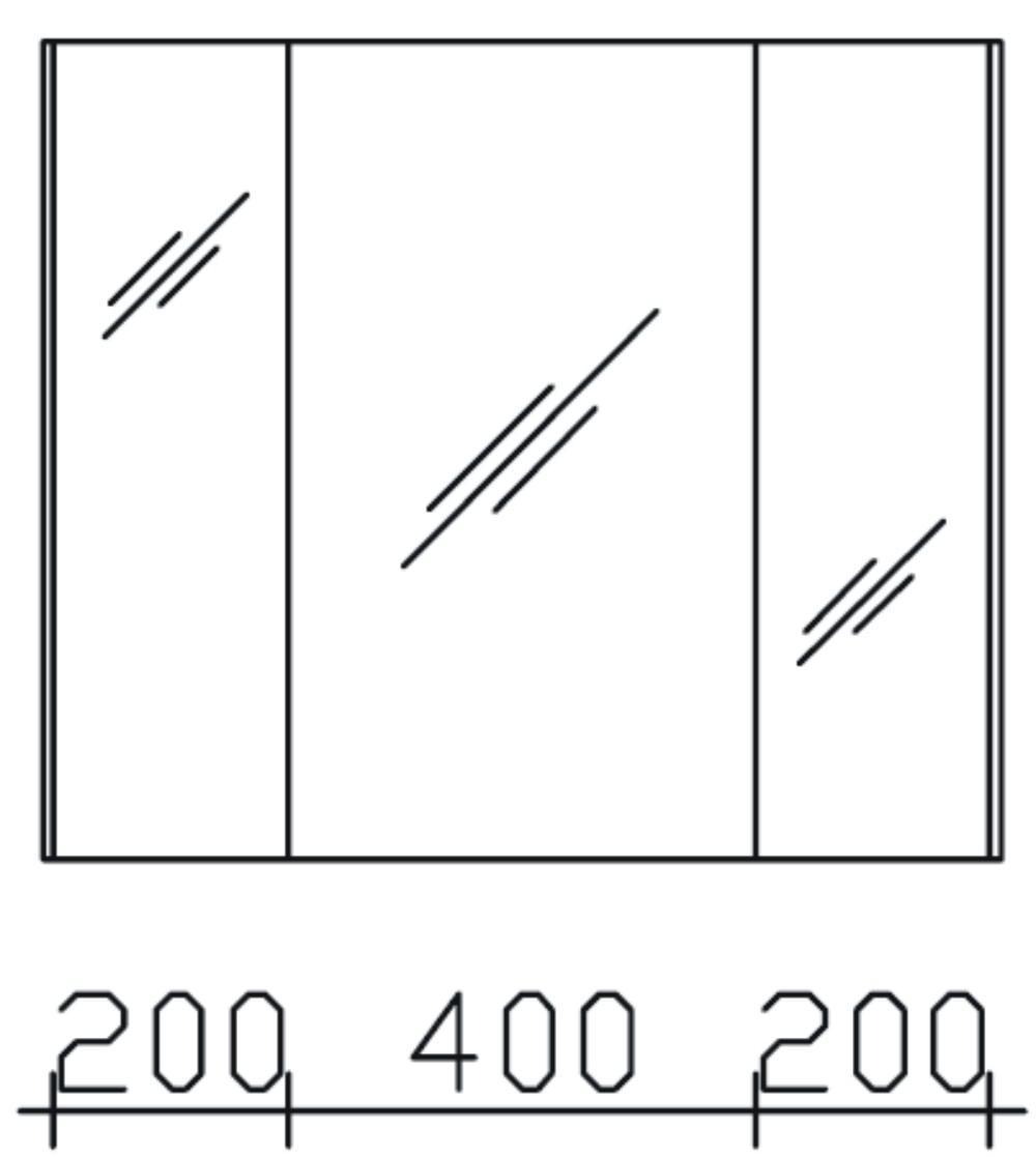Spiegelschrank Beleuchtung Seitlich : Pelipal PCON Spiegelschrank mit 3 Spiegeltüren und LEDBeleuchtung