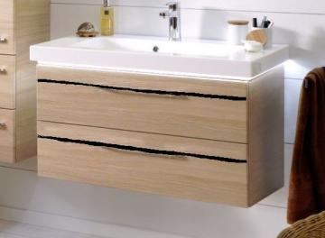 Pelipal Balto Badmöbel 92 cm | Waschtisch mit Unterschrank | Mit schwarzer Dekorleiste