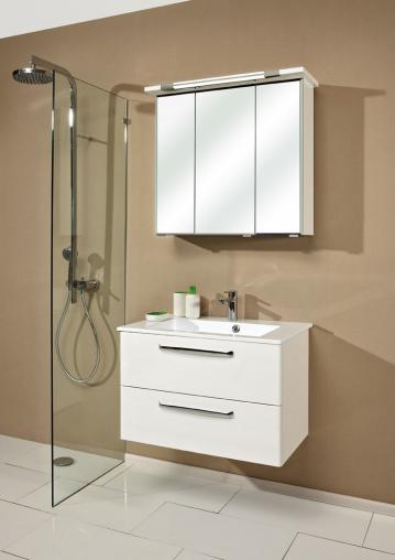 Badmöbel Trenntsee 80 cm | Set 14 | Spiegelschrank mit Leuchte T5