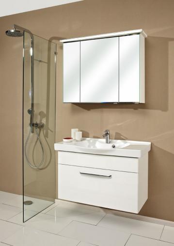 Badmöbel Trenntsee 92 cm | Set 18 | Spiegelschrank mit Profilleuchte