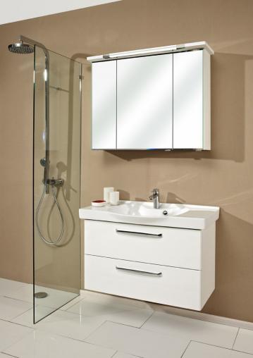 Badmöbel Trenntsee 92 cm | Set 19 | Spiegelschrank mit Leuchte T5