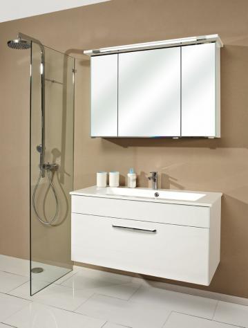 Badmöbel Trenntsee 107 cm | Set 24 | Spiegelschrank mit Leuchte T5