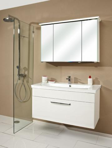 Badmöbel Trenntsee 110 cm | Set 28 | Spiegelschrank mit Profilleuchte