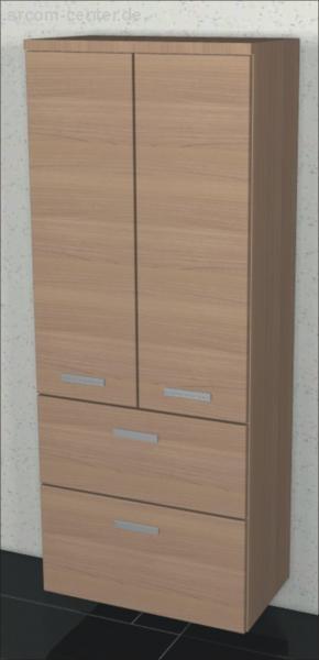 Marlin Bad 33110 Mittelschrank 60 cm mit 2 Türen + 2 Auszüge