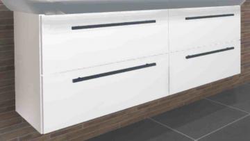Pelipal Solitaire 9005 WT-Unterschrank L | 2 Auszüge | 130 cm [Villeroy & Boch Subway 2.0 Doppel-Waschtisch]