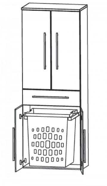 Puris Kao Line Badmöbel Hochschrank | Wäscheauszug 60 cm