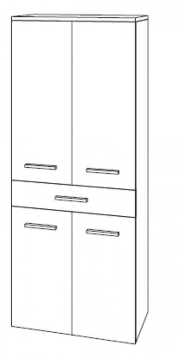 Marlin Bad 3040 - Mittelschrank | 60 cm | 4 Türen + 1 Auszug