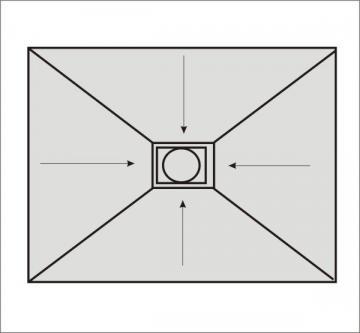 Befliesbares Duschelement Rechteck 100 x 80 cm Ablauf mittig