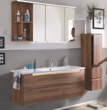 Puris Purefaction Badmöbel Set C 120 cm | Spiegelschrank | Ablage links