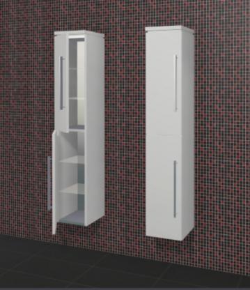 Puris Rounds Badmöbel Hochschrank 30 cm + 2 Türen | Maßvariabel