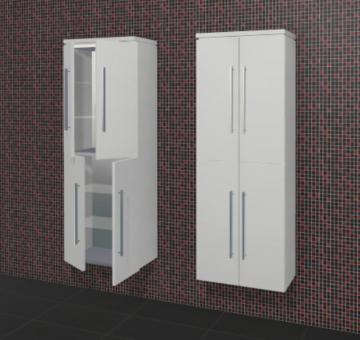 Puris Rounds Badmöbel Hochschrank 60 cm + 4 Türen | Maßvariabel