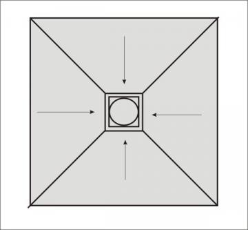 Befliesbares Duschelement 130 x 130 cm Ablauf mittig