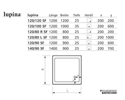 Duschwanne 120 x 120 cm SUPERFLACH - Arcom Center | {Duschwanne maße 23}