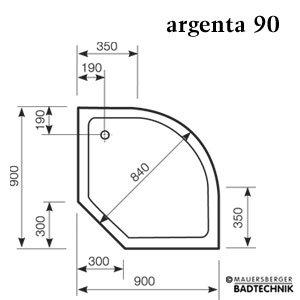 mauersberger argenta duschwanne viertelkreis 90x90 cm superflach. Black Bedroom Furniture Sets. Home Design Ideas
