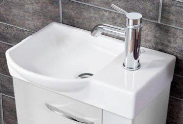 Fackelmann Como Weiß Keramikbecken Gäste WC links