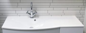 Fackelmann Lugano Weiß Mineralgusswaschtisch links 115 cm