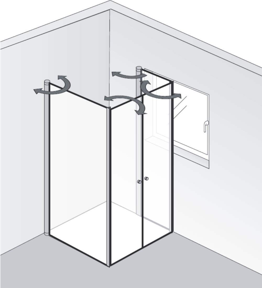 hsk duschkabine exklusiv 2 drehfaltt ren fensterl sung arcom center. Black Bedroom Furniture Sets. Home Design Ideas