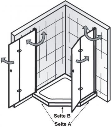 HSK Duschkabine Exklusiv B Fünfeck Dusche | 2 Drehfalttüren