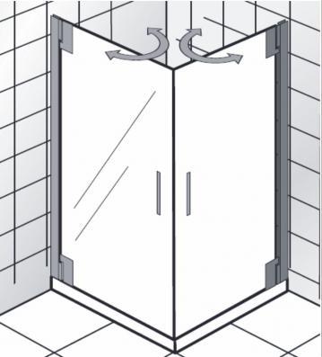 HSK Duschkabine K2P Variante C | Eckdusche + Drehtüren