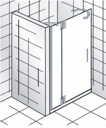 HSK Duschkabine K2P Variante C Nischen Dusche | Drehtür + Festteil