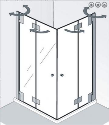 HSK Duschkabine K2P Variante D | Eckdusche + Drehfalttüren