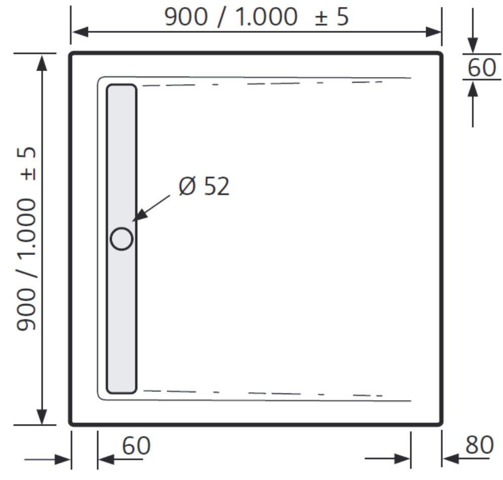 hsk duschwanne 100 100 cm superflach duschrinne arcom center. Black Bedroom Furniture Sets. Home Design Ideas