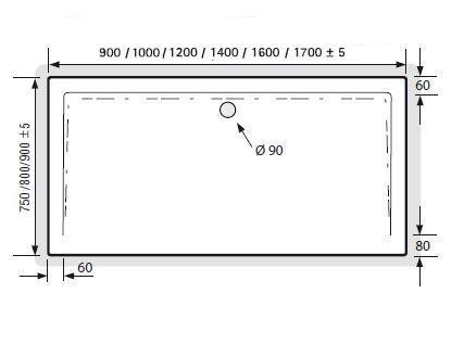 hsk duschwanne 80 100 cm superflach arcom center. Black Bedroom Furniture Sets. Home Design Ideas