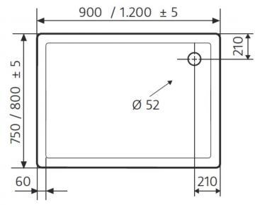 HSK Duschwanne Rechteck 80 / 120 cm / Flach
