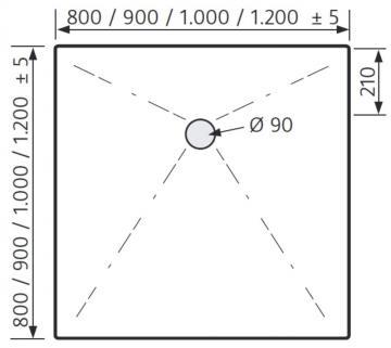 HSK Duschwanne Quadrat 80 / 80 cm / Plan