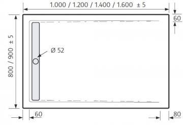 HSK Duschwanne Rechteck 80 x 120 cm / Superflach / Duschrinne