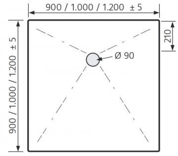 HSK Duschwanne Quadrat 90 / 90 cm / Plan