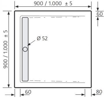 HSK Duschwanne Quadrat 90 / 90 cm / Superflach / Duschrinne