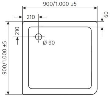 HSK Duschwanne Quadrat 90 / 90 cm / Superflach
