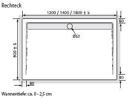 hsk duschwanne 90 160 cm rechteck 5525160 arcom center. Black Bedroom Furniture Sets. Home Design Ideas