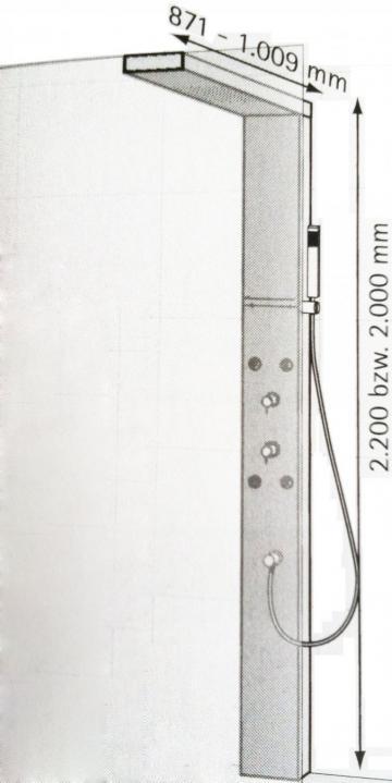 HSK Lavida Duschpaneel mit Traverse für Glasaufnahme