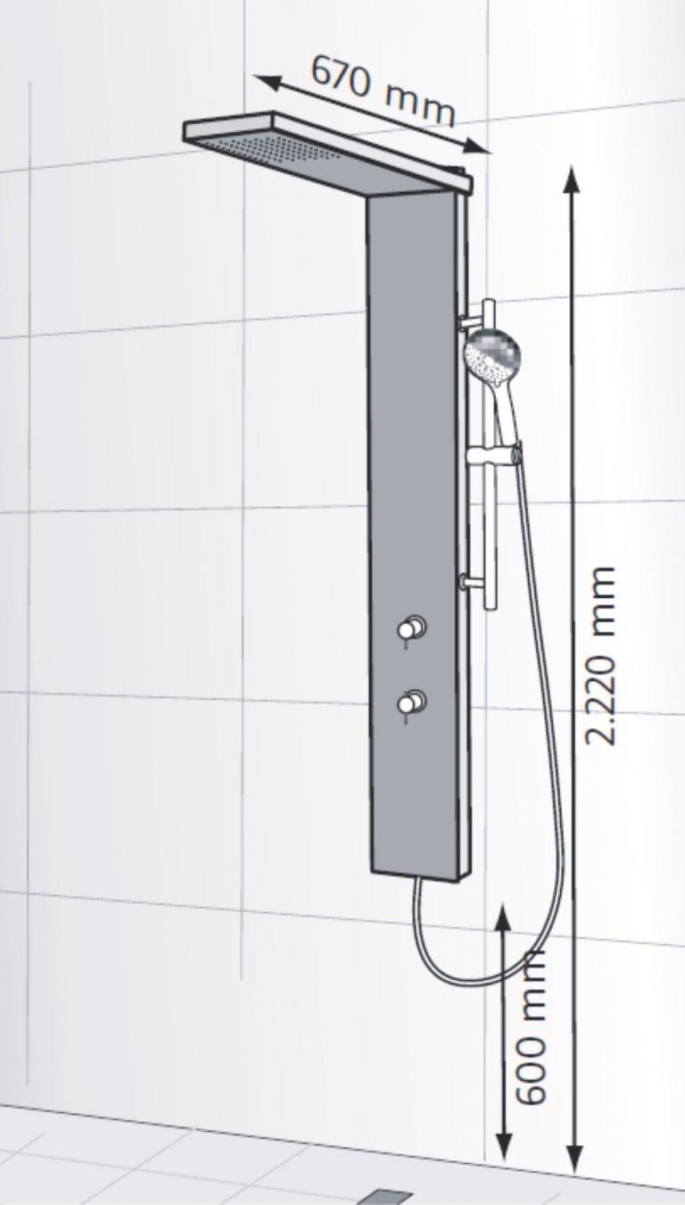 hsk lavida plus duschpaneel ohne schwallfunktion arcom center. Black Bedroom Furniture Sets. Home Design Ideas