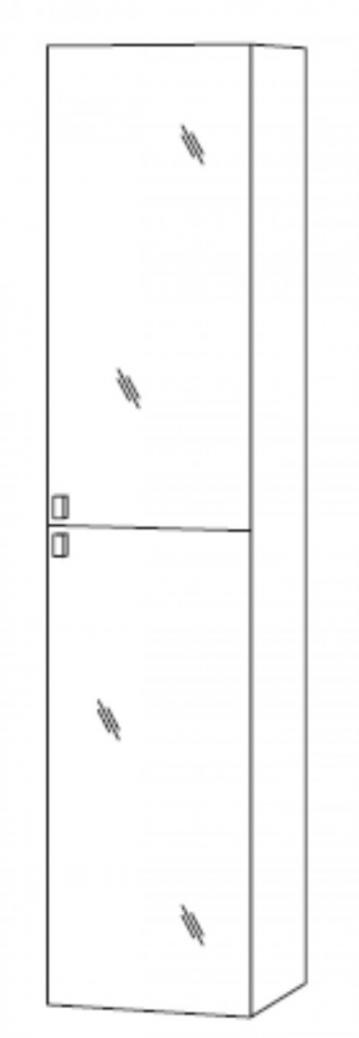 Marlin Bad 3100 - Scala Hochschrank | 40 cm + 2 Spiegeltüren [Tiefe 17,6 cm]