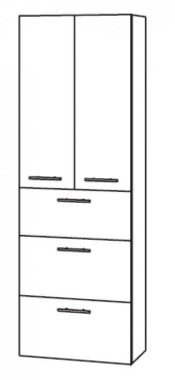 Marlin Bad 3130 - Azure Hochschrank 2 Türen + 3 Auszüge | 60 cm