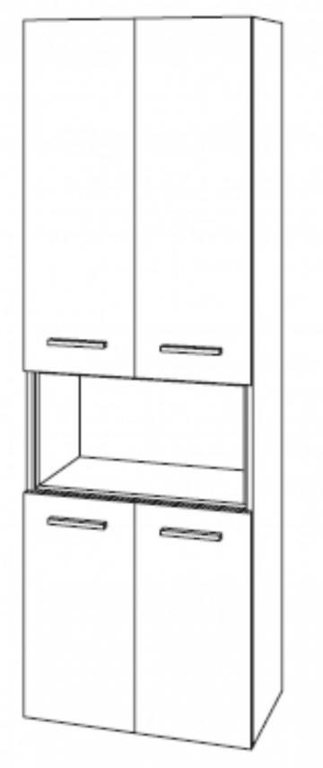 Marlin Bad 3130 - Azure Hochschrank 4 Türen + 1 Regal | 60 cm