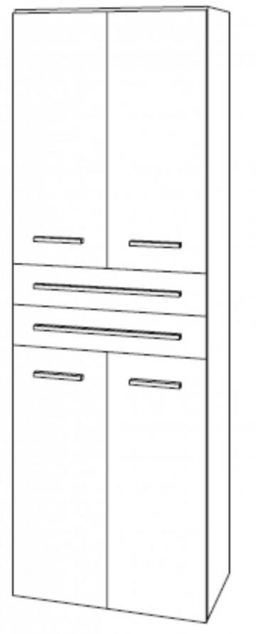 Marlin Bad 3130 - Azure Hochschrank 4 Türen + 2 Auszüge | 60 cm