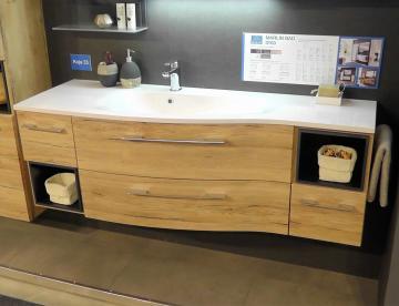Marlin Bad 3160 - Motion Badmöbel Waschtisch mit Unterschrank | 150 cm Rechts