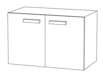 Marlin Bad 3030 - Christall Waschtischunterschrank B 100 cm + 2 Türen