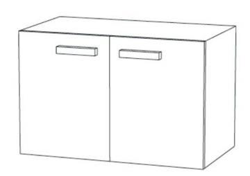 Marlin Bad 3030 - Christall Waschtischunterschrank B 80 cm + 2 Türen