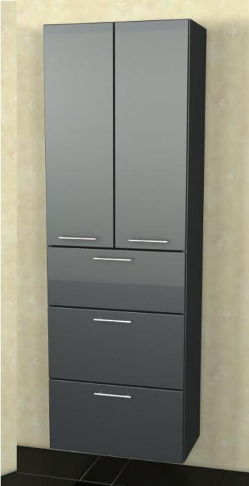 Marlin Bad 3040 - City plus Badmöbel | Hochschrank 2 Türen + 3 Auszüge 60 cm
