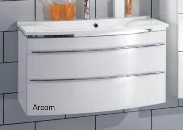Marlin Bad 3040 - City plus Badmöbel Waschtisch Set 90 cm Rund + 2 Auszüge